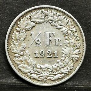 Switzerland 1921B 1/2 Franc Helvetia Standing Aunc Coin Silver.835