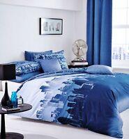 Catherine Lansfield Blue City Scape New York Skyline Duvet Set S/D/K