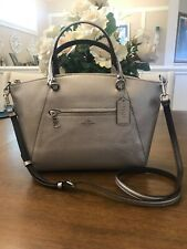 NWT COACH F87686 METALLIC LEATHER PRAIRIE SATCHEL CROSSBODY HANDBAG PLATINUM