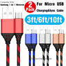 2-Pack Long Short Micro USB Data Charger Charging Cable Cord for Android Phones