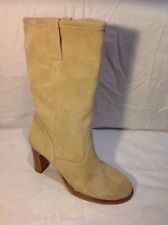 George Beige Mid Calf Suede Boots Size 40