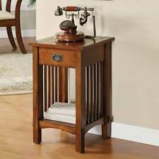 Mission Hallway Telephone Plant Stand Snack Table Drawer & Shelf in Antique Oak