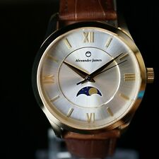 Miyota / Citizen Movement - Gold Moon Phase Watch w/ Sapphire Crystal 38mm