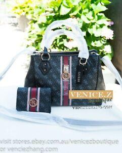 BNWT $268 GUESS JENSEN Shoulder Bag Handbag Tote Satchel Wallet Clutch Set Coal