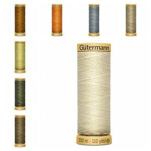 Gütermann Thread-100m Reel 100% NATURAL COTTON HAND & MACHINE