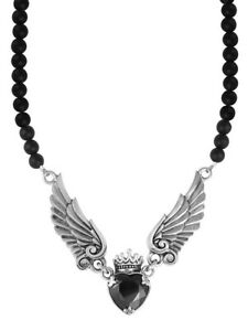 King Baby Studio black CZ crowned heart with wings necklace  K56-5116