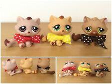 Littlest Pet Shop LOT 3 TABBY CATS #194  #747 Orange Flower NO # Monopoly Mauve