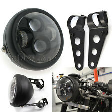 """Motorcycle Black LED 6.5"""" Projector Headlight Bracket For Cafe Racer SX650 CB"""