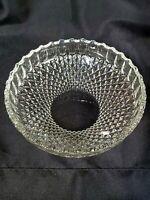 "Vtg Pressed Glass Bowl,clear, Diamond Point Square 8.5"""
