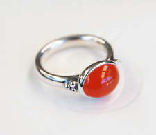 Genuine Pandora Silver Ring with large Cabochon Carnelian - 190156CAR - Size 56