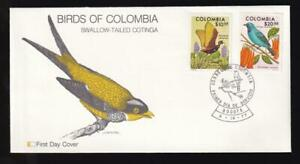 Colombia 1977 Fleetwood FDC Birds, unaddressed, sc#858-859