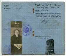 JUDAICA: LITHUANIA 1917 German Occupation pass German/Hebrew for Mindel