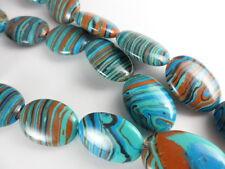 Blue Rainbow Calsilica Flat Oval 18x13mm Bead Strand Semi-Precious 1 str