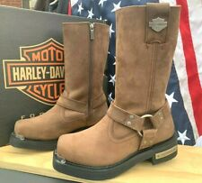 HARLEY DAVIDSON MEN SIZE 7 1/2 M SIDE ZIP MOTORCYCLE SQUAR TOE BOOTS D96051