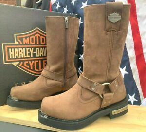 HARLEY DAVIDSON MEN SIZE 7 M SIDE ZIP MOTORCYCLE RIDING SQUAR TOE BOOTS D96051
