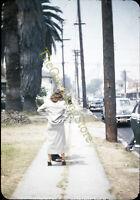 Sidewalk Street Scene Cars Palm Trees 1940s 35mm Slide Red Border Kodachrome