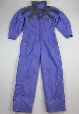 Vtg 80s 90s Purple Chervo One piece Ski Suit Snow Bib Snowsuit Euro 46 Italy