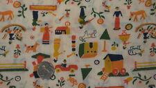 "Vintage Cotton Blend Fabric SMALL FOLKY MOTIFS,ORANGE,GREEN/CREAM 1 Yd/45"" Wide"