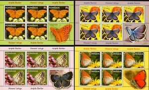 """4 KB.= 5 FULL SET WITH Vignettes/ ROMANIA 2016 BUTTERFLIES """"FLOWERS' WINGS"""" MNH"""