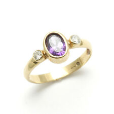 Vintage 14k yellow gold Amethyst Cubic Zirconia Bezel 3 stone ring purple Estate