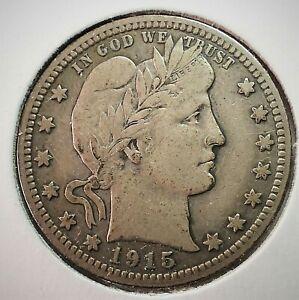 1915 USA Barber Silver Quarter in VF Condition  (004)