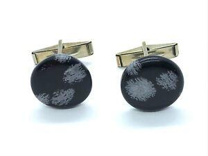 Vintage Art Deco 1930s Sterling Silver Polished Black Agate Cufflinks