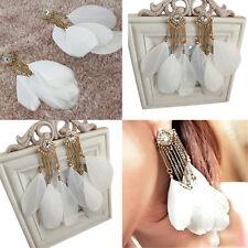 Fashion White Long Feather Chain Cute Dangle Earrings Jewelry Nice