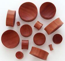 "1 Pair 9/16"" 14mm Red Saba Organic Natural Wood Concave Saddle Plugs Ear 549"