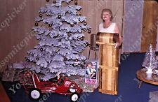 SL16  Original Slide 1966l Christmas tree lady sled presents 627a