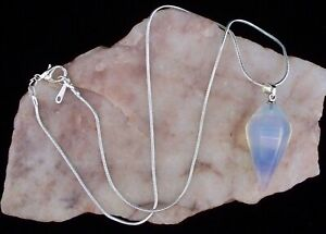 Opal Opalite Pendulum Pendant, 925 Silver 16 '' Snake Chain Necklace.In Gift Box