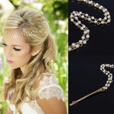 Boho Wedding Bridal Bridesmaid Pearl beads Barrette Head Chain Jewelry Headpiece