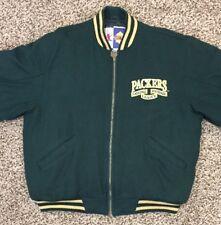VTG Green Bay Packers Mens L Logo Athletic Embroidered Wool Zip Jacket Coat NFL