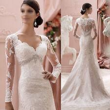 Meerjungfrau Langarm Spitze Herzenform Brautkleider Ballkleider Hochzeitskleid