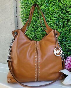 Michael Kors Handbag vintage ASTOR UPTOWN studded Shoulder Purse Leather walnut