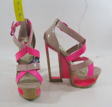 "New  nude/pink 6""wedge high heel  2""platform sandals shoes by shiekh SIZE 6 p"