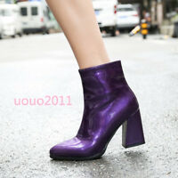 Chic Womens Mirror Shiny Block High Heels Ankle Boots Pointy Toe Zip Party Shoes