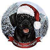 Holiday Pet Gifts Black Puggle Santa Hat Dog Porcelain Ornament