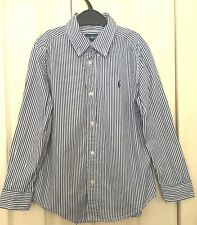 Ralph Lauren Boys Navy and White Striped 100% Cotton Long Sleeves Shirt 6 Years
