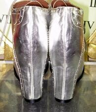 Jeffrey Campbell Bonnie Havana Leather High Heel Wedge Silver Boot Size 7 🤖
