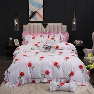 Vintage Blossom Rose Ruffled Bedding Soft 100%Cotton Bedding Set Duvet Cover