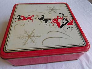 "Art Deco Nouveau TIN container HORSES & CARRIAGE WINTER scene Christmas 8x3"" vtg"