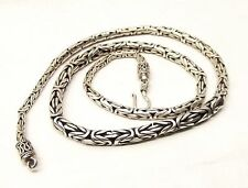"Vtg Sterling Silver Bali Byzantine Chain Necklace Tapered 20"" 4mm Heavy 48.5g"