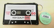 Lindo Novedad Retro Cassette cinta Monedero con Llavero PU Regalo Navidad