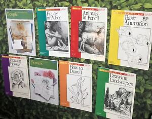 8 Vintage Walter Foster Art Books How To Draw And  Paint Animation Flowers LOT