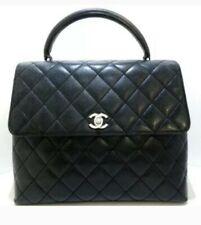 Chanel Black Caviar Jumbo Kelly Top Coco Handle Silver Hardware