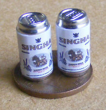 1:12 Scale 2 Empty Singha Beer Tins Dolls House Miniature Pub Bar Drink