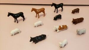 Lot~12 Vintage BB Plasticville Farm Animals~ Horses, cows, pigs, sheep