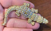 Vintage Gold-Tone Alligator Brooch Pin w/ Aurora Borealis Rhinestones