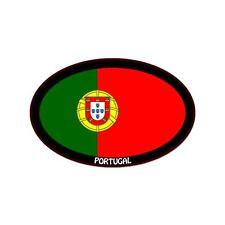"Portugal black Euro oval car window bumper sticker decal 5"" x 3"""