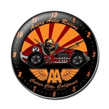 "Angry Artie Racing 14"" Wall Clock - Hand Made in the USA with American Steel"